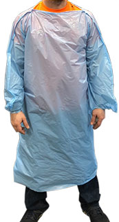 T-Style Polyethylene Isolation Gown - Front